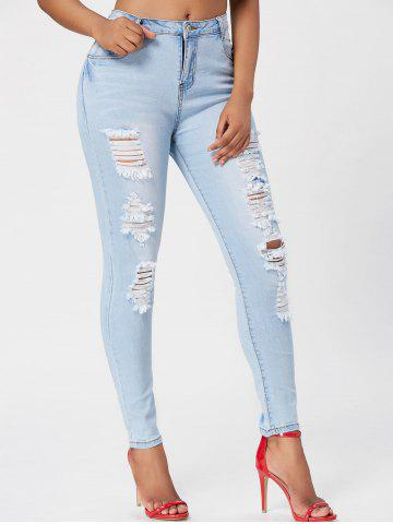 Trendy Light Wash Ripped Skinny Jeans BLUE M