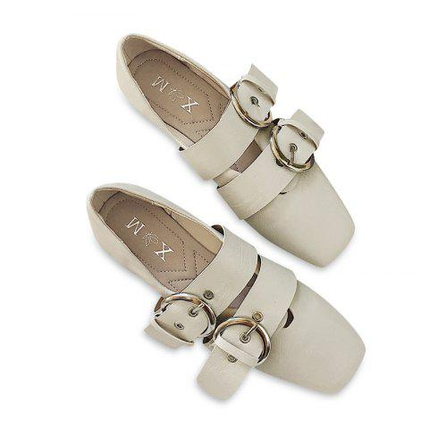 Outfit Double Buckles Strap Square Toe Flat Shoes BEIGE 39