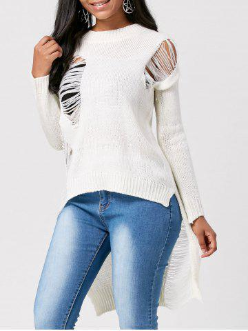 High Low Crew Neck Distressed Sweater - White - One Size