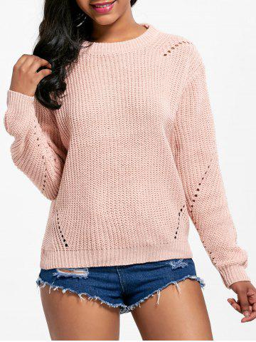 Latest Long Sleeve Crew Neck Textured Sweater LIGHT PINK ONE SIZE