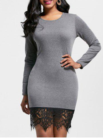 Lace Hem Long Sleeve Fitted Dress - Gray - Xl