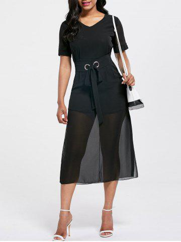 Cheap V Neck Belted Chiffon Midi Dress BLACK S