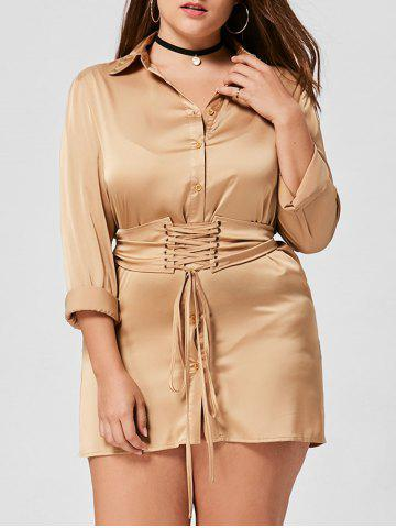 Long Sleeve Plus Size Shirt Dress - Khaki - 5xl