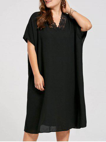 Plus Size Chiffon Lace Trim V Neck Poncho Dress - Black - One Size