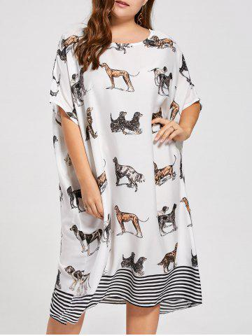 Plus Size Puppy Printed Batwing Sleeve T-shirt Dress - White - One Size