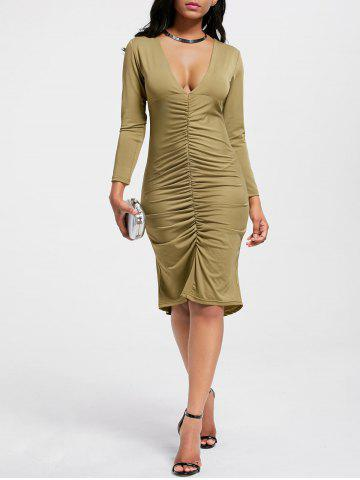 Plunging Neck Scrunch Ruched High Low Dress - Army Green - 2xl
