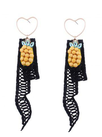 Heart Earrings with Lace Pineapple Pendant - Black