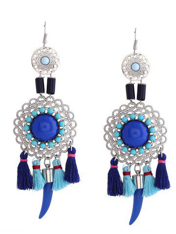 Hollow Flower Tassel Embellished Fish Hook Earrings - Blue