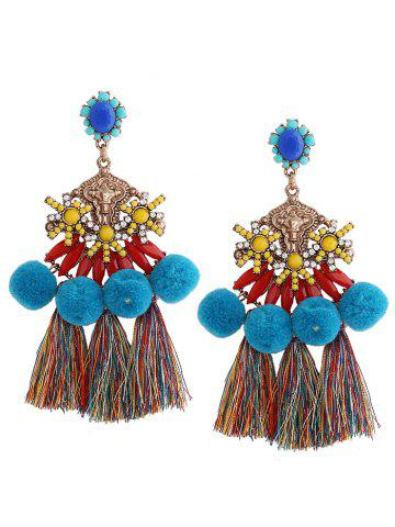 Ethnic Pom Pom Tassel Pendant Earrings - Blue