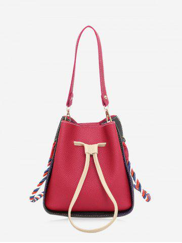 Drawstring Color Block Bucket Bag - Red - M