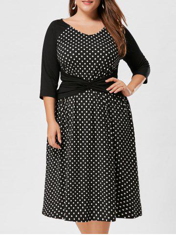 High Waist Plus Size Polka Dot Dress - Black White - 3xl