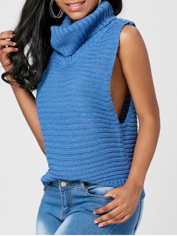 Casual Turtleneck Sleeveless Sweater - Blue - One Size