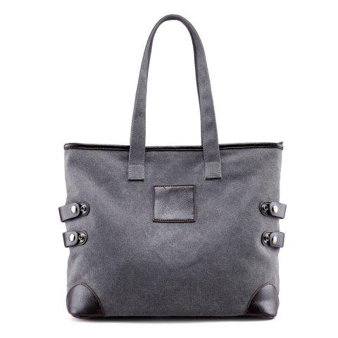 Affordable Button Casual Canvas Shoulder Bag GRAY