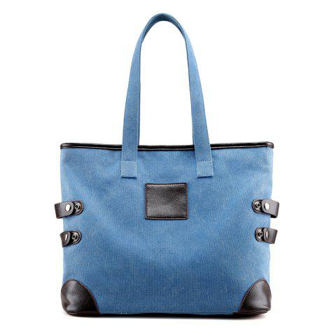 Button Casual Canvas Shoulder Bag - Blue