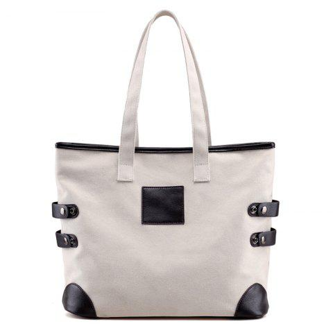 Online Button Casual Canvas Shoulder Bag - OFF-WHITE  Mobile