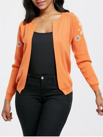 Ribbed Embroidered Cardigan - Orange Yellow - One Size