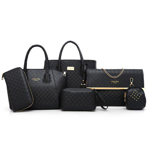 Chic Argyle Pattern 6 Pieces Handbag Set - BLACK  Mobile