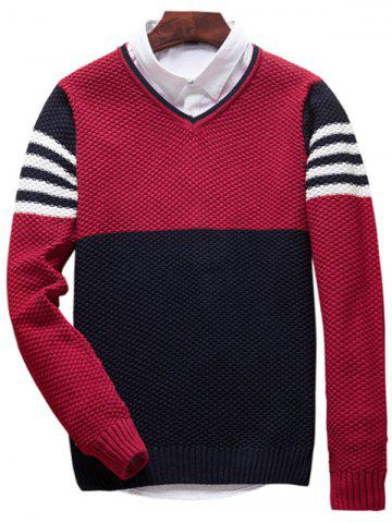 Popcorn Knitted V Neck Color Block Sweater - Red - L