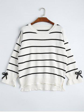 Striped Drop Shoulder High Low Plus Size Sweater - White - One Size