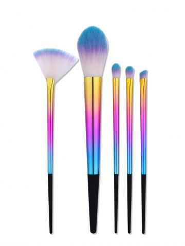 5Pcs Ombre Tapered Handle Makeup Brushes Set - Colormix