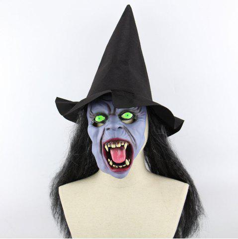 Fashion Witch Printed Halloween Mask Cap With Wig