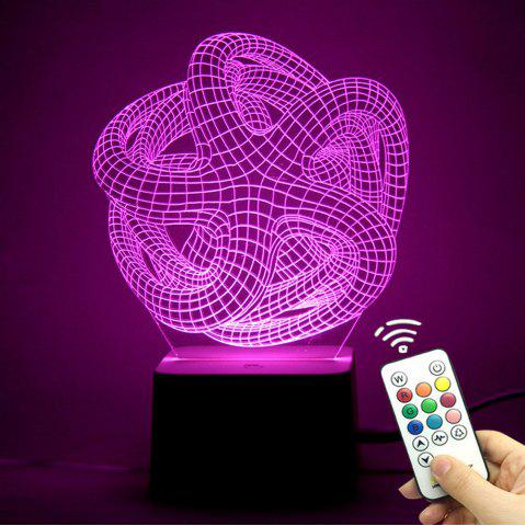 Fashion 3D Geometric Remote Control Color Changing Night Light TRANSPARENT
