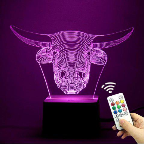 Outfits Remote Control Changeable 3D Cow Head Shape Night Light - TRANSPARENT  Mobile