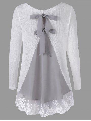 Long Sleeve Back Bowknot Lace Panel Knit Top - White - L