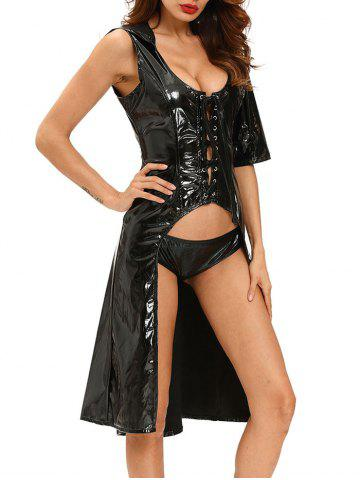 Shops Faux Leather Lace Up Halloween Costume - S BLACK Mobile