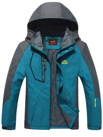 Detachable Hood Zip Pocket Track Jacket - Green Blue - L