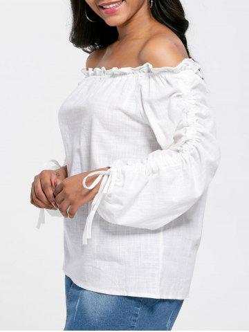 Off The Shoulder Puff Sleeve Blouse - White - One Size