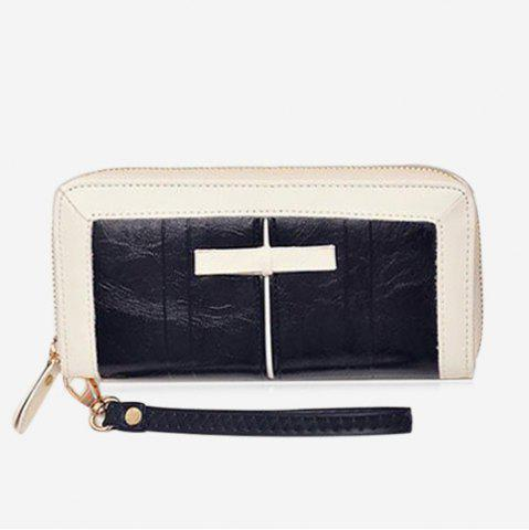 Fashion Bow Two Tone Clutch Wallet BLACK