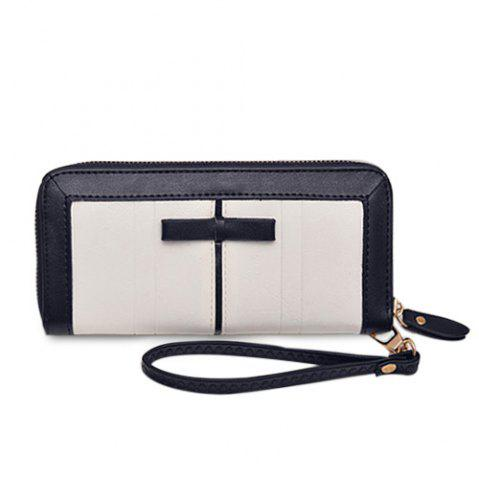 Bow Two Tone Clutch Wallet - White