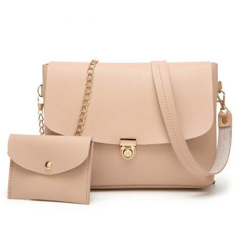 Best 2 Pieces Hasp Crossbody Bag Set LIGHT PINK