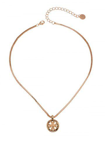 Box Chain Metal Round Crucifix Necklace - Golden - Horizontal