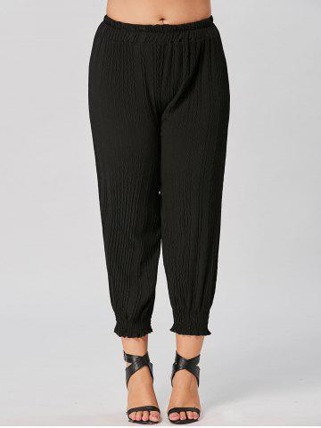Plus Size Pleated Chiffon Tapered Pants - Black - 4xl