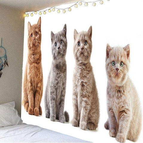 Waterproof Curious Cats Printed Wall Hanging Tapestry - Gray - W79 Inch * L71 Inch