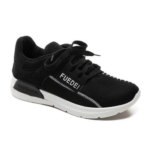 Fancy Mesh Color Block Breathable Athletic Shoes WHITE AND BLACK 37