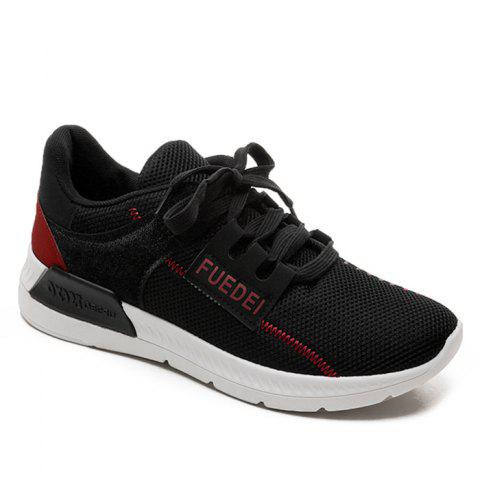 Mesh Color Block Breathable Athletic Shoes - Red With Black - 38