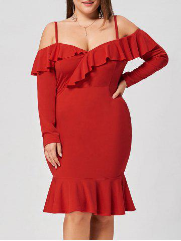 Plus Size Ruffle Dew Shoulder Mermaid Dress - Red - 4xl
