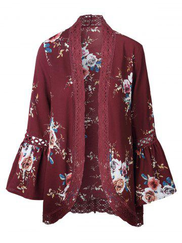 Hollow Out Lace Insert Flare Sleeve Kimono Rouge M
