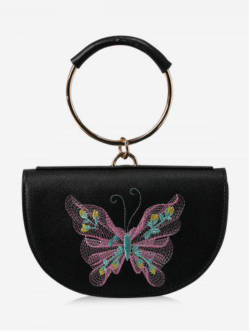 Embroidery Metal Ring Tote Bag - Black And Pink