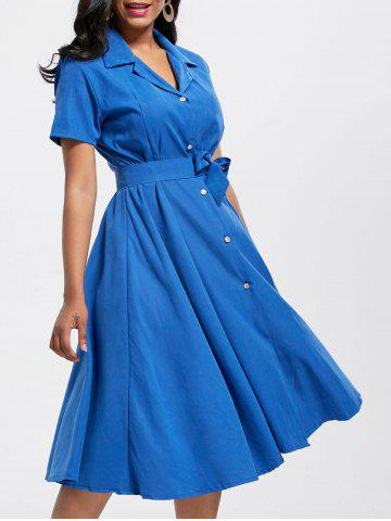 Maxi Short Sleeve Button Up Shirt Dress - Blue - S