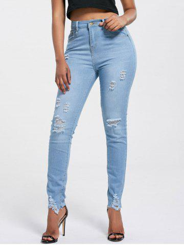 High Rise Ripped Skinny Jeans - Light Blue - 2xl