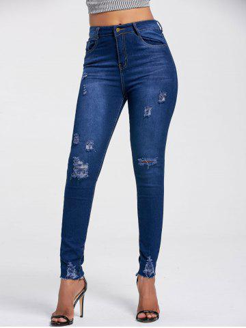 Sale High Rise Ripped Skinny Jeans DEEP BLUE 2XL