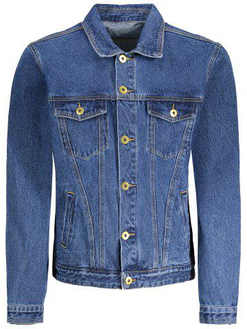 Men Pockets Denim Jacket - Blue - M