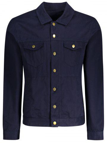 Men Letter Embroidered Jacket - Deep Blue - M
