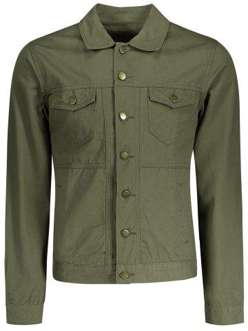 Men Letter Embroidered Jacket - Army Green - M