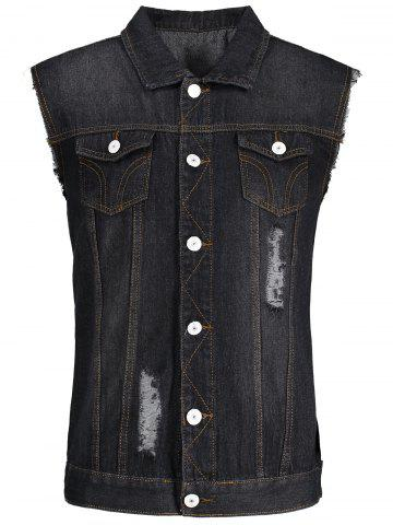 Button Up Ripped Denim Waistcoat - Black - Xl