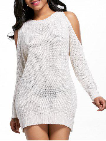Best Open Shoulder Tunic Sweater Dress - ONE SIZE OFF-WHITE Mobile